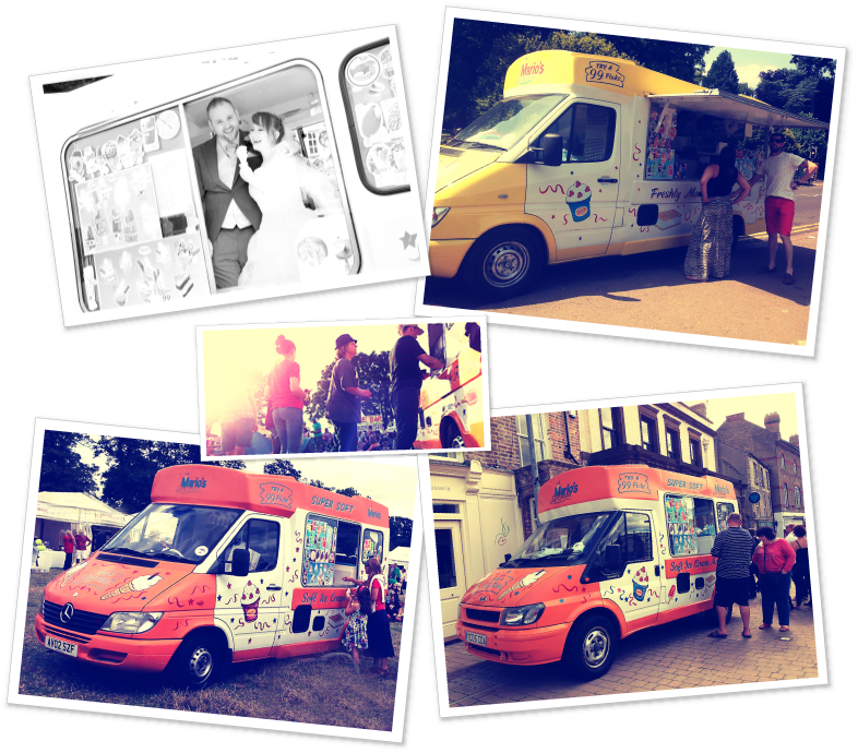 Photo of ice cream vans hired for festivals and events.