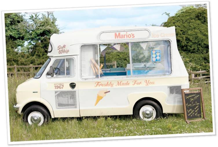 Photo of an ice cream van at a wedding.